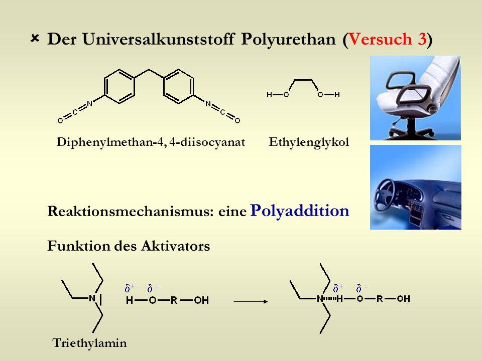  Der Universalkunststoff Polyurethan (Versuch 3) Reaktionsmechanismus: eine Polyaddition Funktion des Aktivators Diphenylmethan-4, 4-diisocyanatEthyl