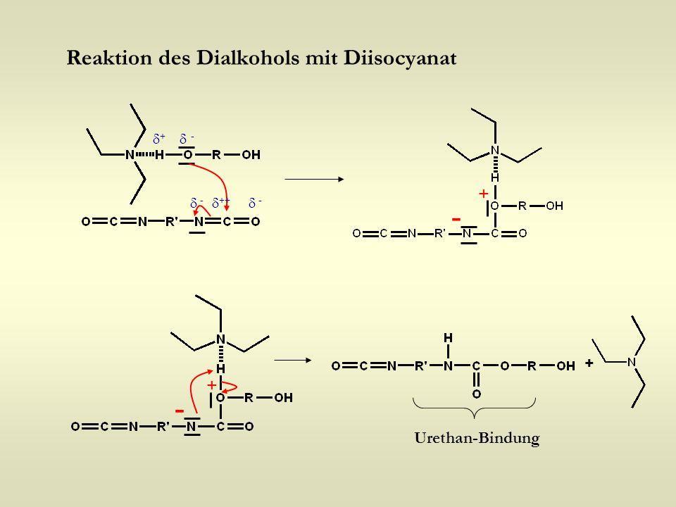 Reaktion des Dialkohols mit Diisocyanat +  ++ ++  - -  - + - - + Urethan-Bindung