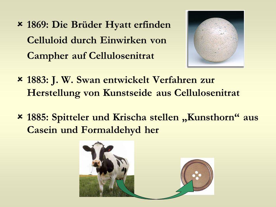  1869: Die Brüder Hyatt erfinden Celluloid durch Einwirken von Campher auf Cellulosenitrat  1883: J. W. Swan entwickelt Verfahren zur Herstellung vo