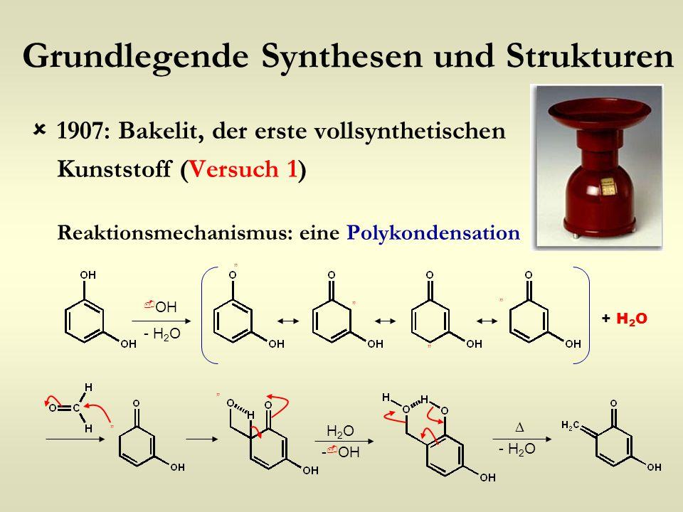 Grundlegende Synthesen und Strukturen  1907: Bakelit, der erste vollsynthetischen Kunststoff (Versuch 1) Reaktionsmechanismus: eine Polykondensation