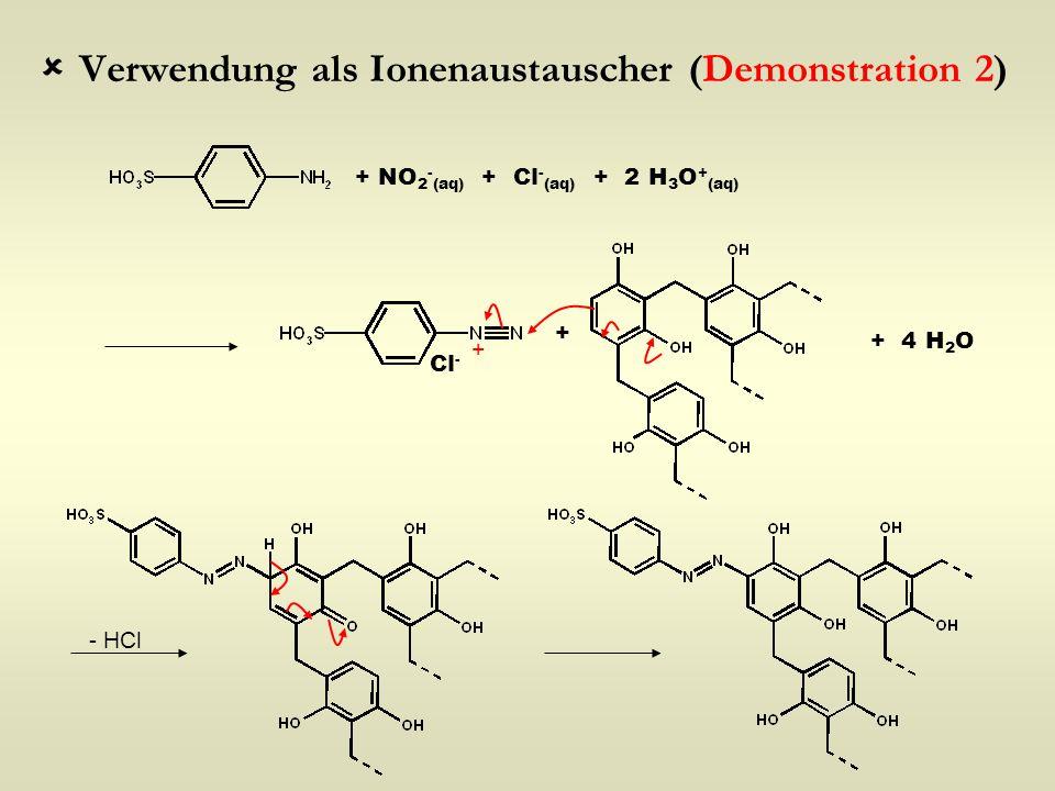  Verwendung als Ionenaustauscher (Demonstration 2) + NO 2 - (aq) + Cl - (aq) + 2 H 3 O + (aq) + + Cl - - HCl + 4 H 2 O