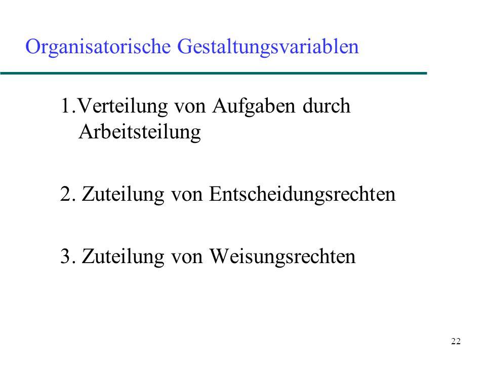 22 Organisatorische Gestaltungsvariablen 1.Verteilung von Aufgaben durch Arbeitsteilung 2. Zuteilung von Entscheidungsrechten 3. Zuteilung von Weisung