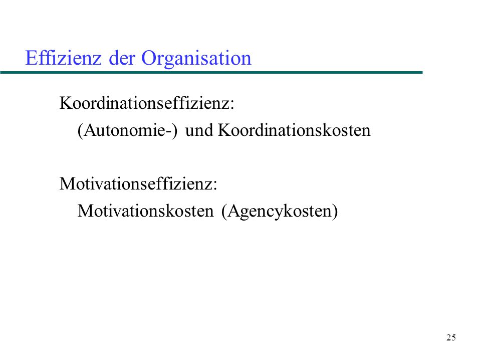 25 Effizienz der Organisation Koordinationseffizienz: (Autonomie-) und Koordinationskosten Motivationseffizienz: Motivationskosten (Agencykosten)