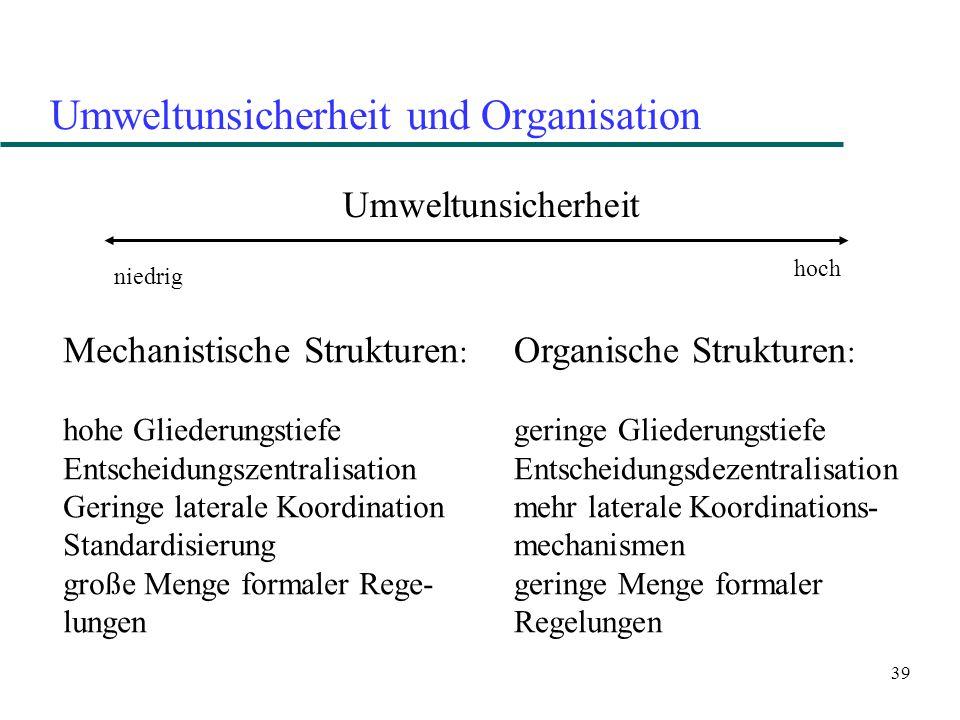 39 Umweltunsicherheit und Organisation Umweltunsicherheit niedrig hoch Mechanistische Strukturen : hohe Gliederungstiefe Entscheidungszentralisation G