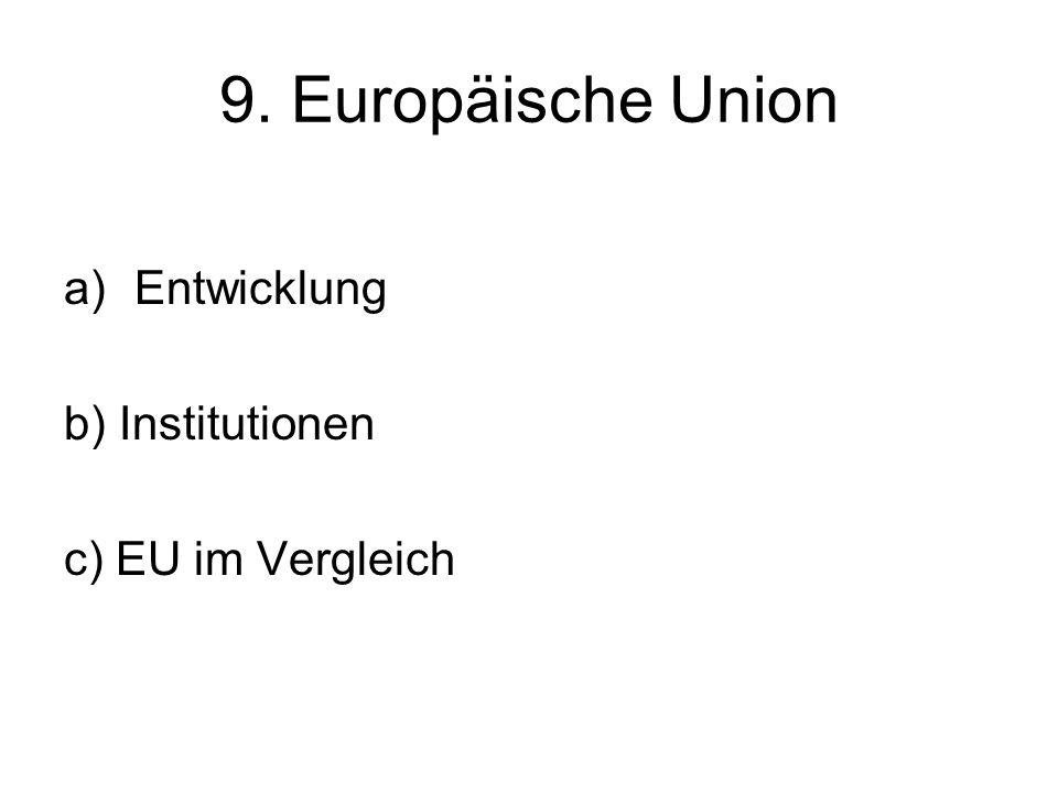 9. Europäische Union a)Entwicklung b) Institutionen c) EU im Vergleich