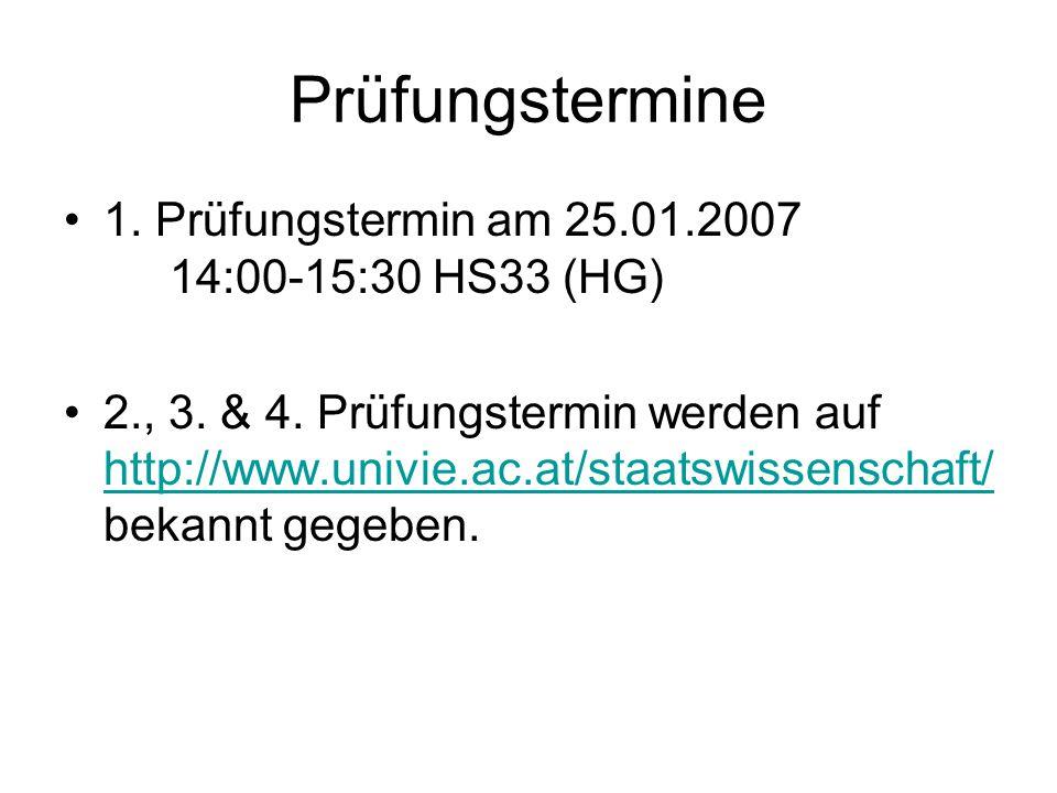 Prüfungstermine 1. Prüfungstermin am 25.01.2007 14:00-15:30 HS33 (HG) 2., 3. & 4. Prüfungstermin werden auf http://www.univie.ac.at/staatswissenschaft