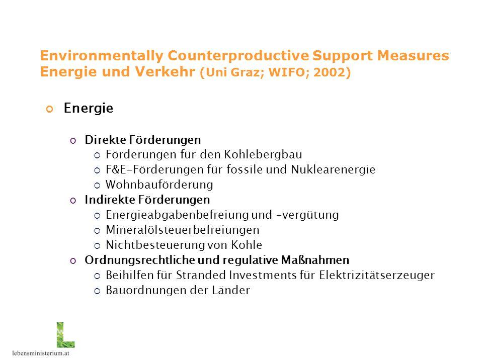Environmentally Counterproductive Support Measures Energie und Verkehr (Uni Graz; WIFO; 2002) Energie Direkte Förderungen  Förderungen für den Kohleb