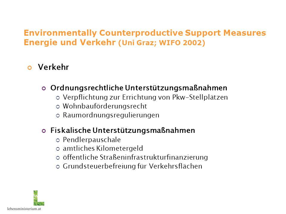 Environmentally Counterproductive Support Measures Energie und Verkehr (Uni Graz; WIFO 2002) Verkehr Ordnungsrechtliche Unterstützungsmaßnahmen  Verp