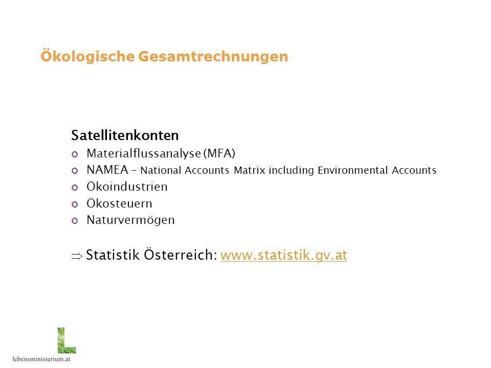 Ökologische Gesamtrechnungen Satellitenkonten Materialflussanalyse (MFA) NAMEA – National Accounts Matrix including Environmental Accounts Ökoindustri