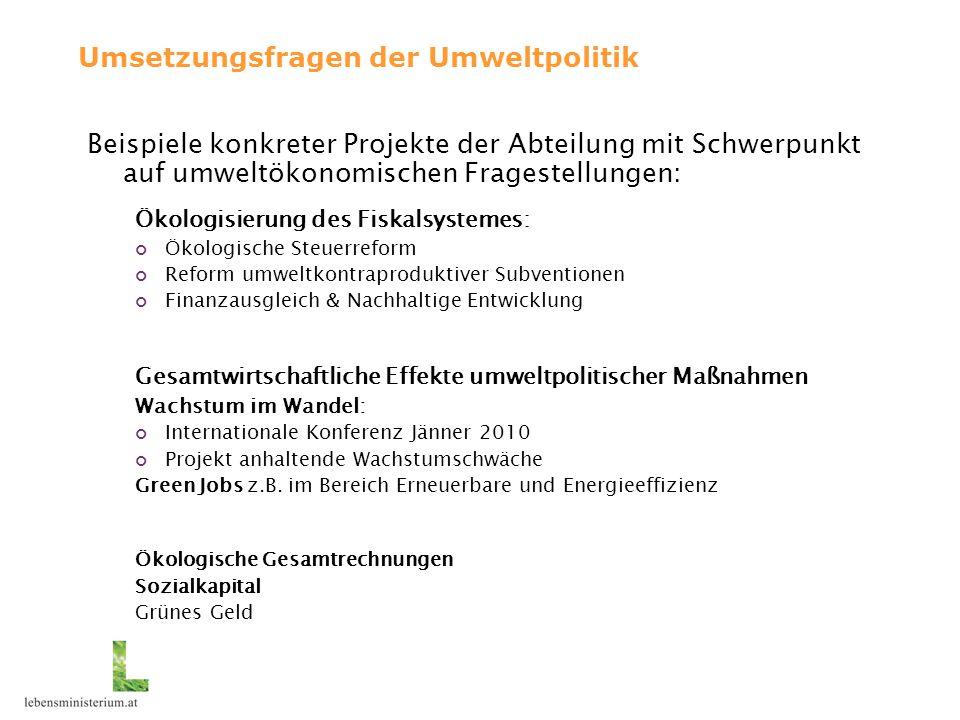 Umsetzungsfragen der Umweltpolitik Beispiele konkreter Projekte der Abteilung mit Schwerpunkt auf umweltökonomischen Fragestellungen: Ökologisierung d