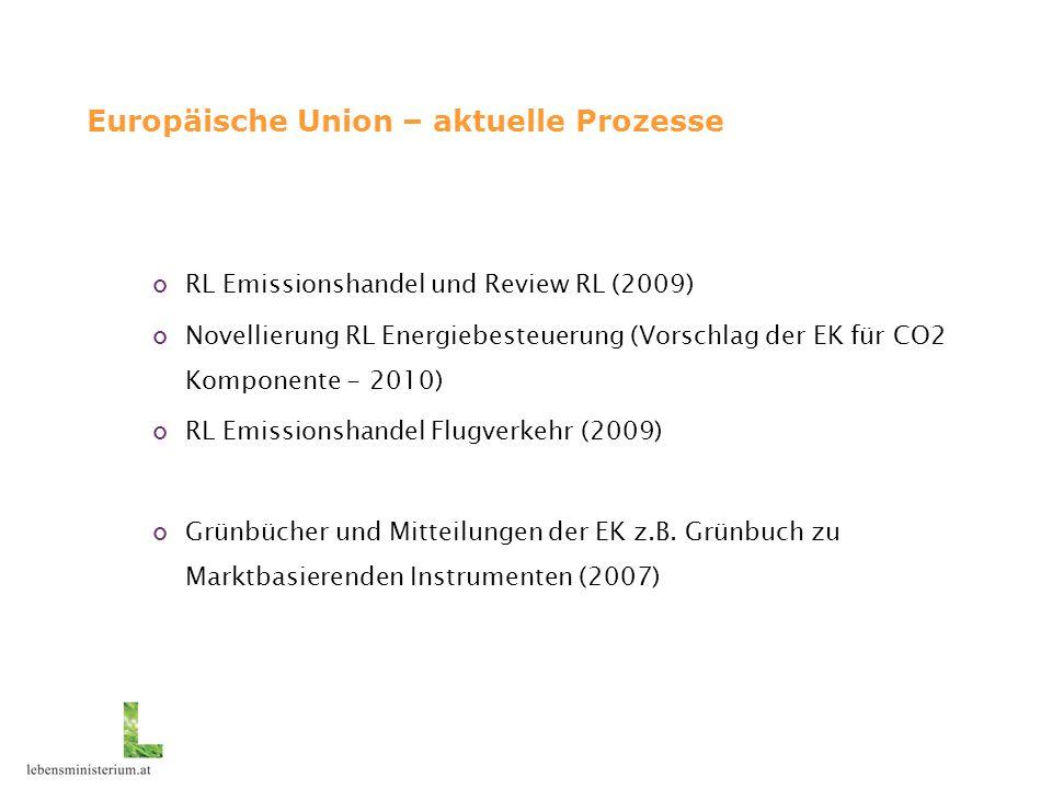 Europäische Union – aktuelle Prozesse RL Emissionshandel und Review RL (2009) Novellierung RL Energiebesteuerung (Vorschlag der EK für CO2 Komponente