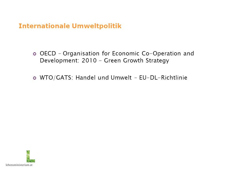 Internationale Umweltpolitik OECD – Organisation for Economic Co-Operation and Development: 2010 - Green Growth Strategy WTO/GATS: Handel und Umwelt –