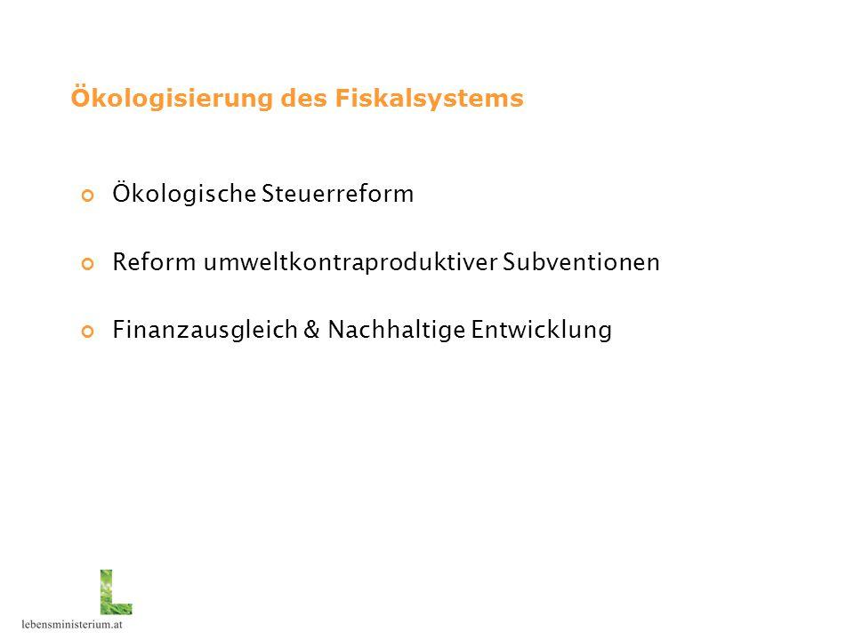 Ökologisierung des Fiskalsystems Ökologische Steuerreform Reform umweltkontraproduktiver Subventionen Finanzausgleich & Nachhaltige Entwicklung