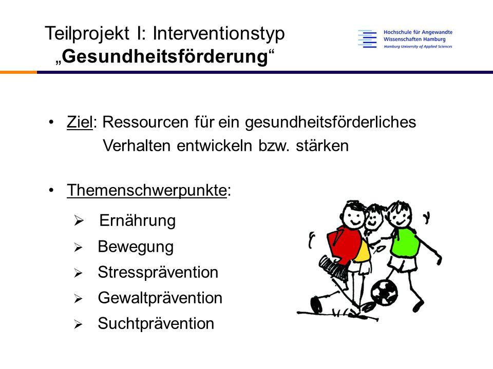 """Teilprojekt I: Interventionstyp """"Gesundheitsförderung Ziel: Ressourcen für ein gesundheitsförderliches Verhalten entwickeln bzw."""