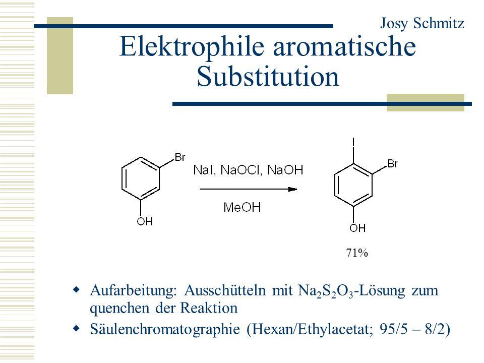 Elektrophile aromatische Substitution  Aufarbeitung: Ausschütteln mit Na 2 S 2 O 3 -Lösung zum quenchen der Reaktion  Säulenchromatographie (Hexan/Ethylacetat; 95/5 – 8/2) Josy Schmitz 71%