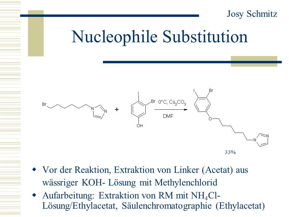 Nucleophile Substitution  Vor der Reaktion, Extraktion von Linker (Acetat) aus wässriger KOH- Lösung mit Methylenchlorid  Aufarbeitung: Extraktion von RM mit NH 4 Cl- Lösung/Ethylacetat, Säulenchromatographie (Ethylacetat) Josy Schmitz 33%