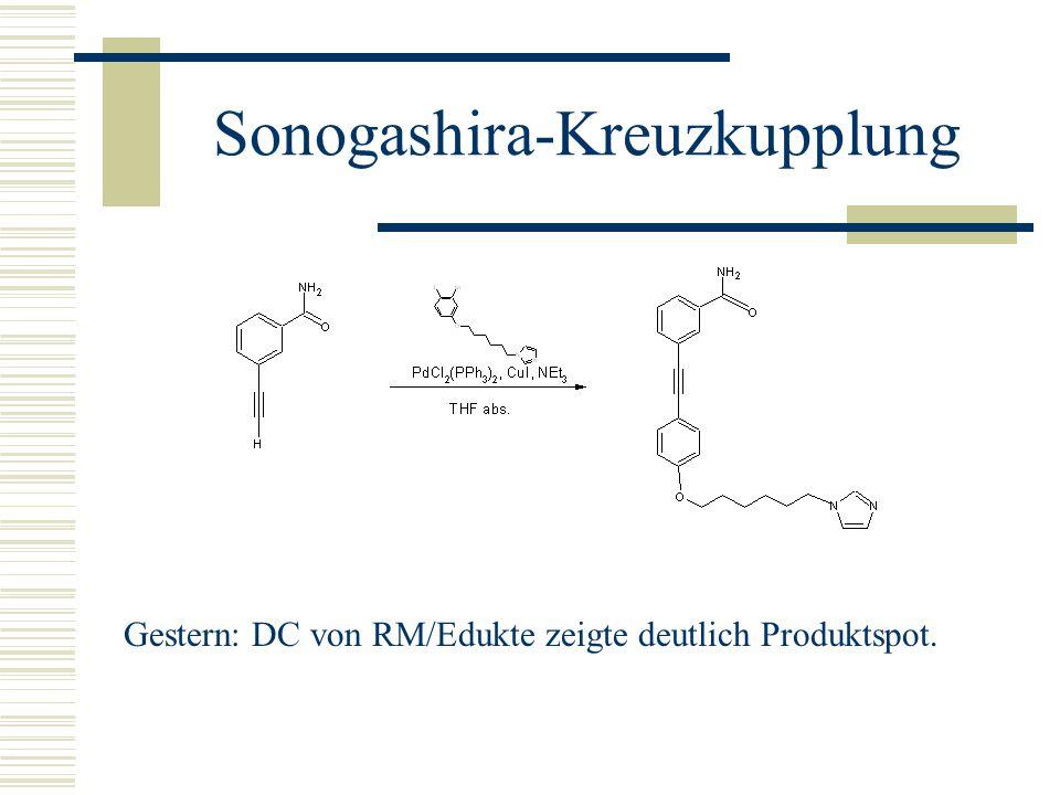 Sonogashira-Kreuzkupplung Gestern: DC von RM/Edukte zeigte deutlich Produktspot.