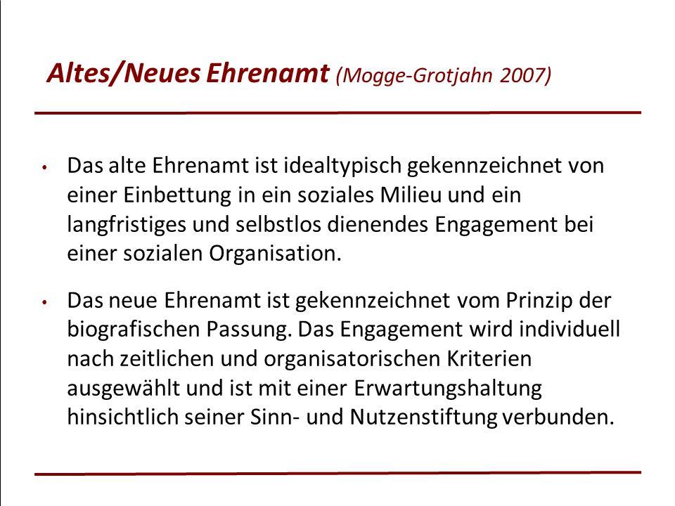 Altes/Neues Ehrenamt (Mogge-Grotjahn 2007) Das alte Ehrenamt ist idealtypisch gekennzeichnet von einer Einbettung in ein soziales Milieu und ein langf