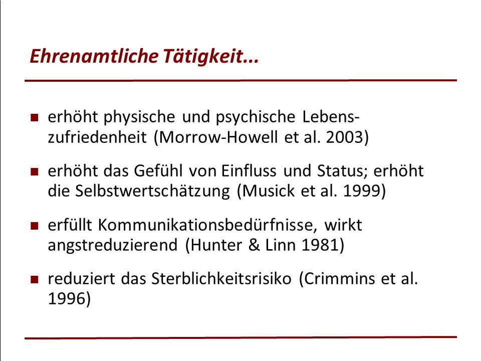 Ehrenamtliche Tätigkeit... erhöht physische und psychische Lebens- zufriedenheit (Morrow-Howell et al. 2003) erhöht das Gefühl von Einfluss und Status