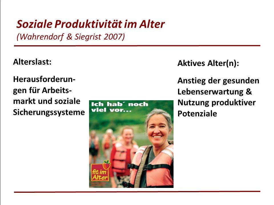 Soziale Produktivität im Alter (Wahrendorf & Siegrist 2007) Alterslast: Herausforderun- gen für Arbeits- markt und soziale Sicherungssysteme Aktives