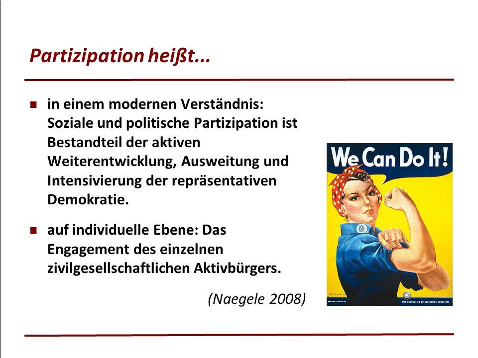 Partizipation heißt... in einem modernen Verständnis: Soziale und politische Partizipation ist Bestandteil der aktiven Weiterentwicklung, Ausweitung u
