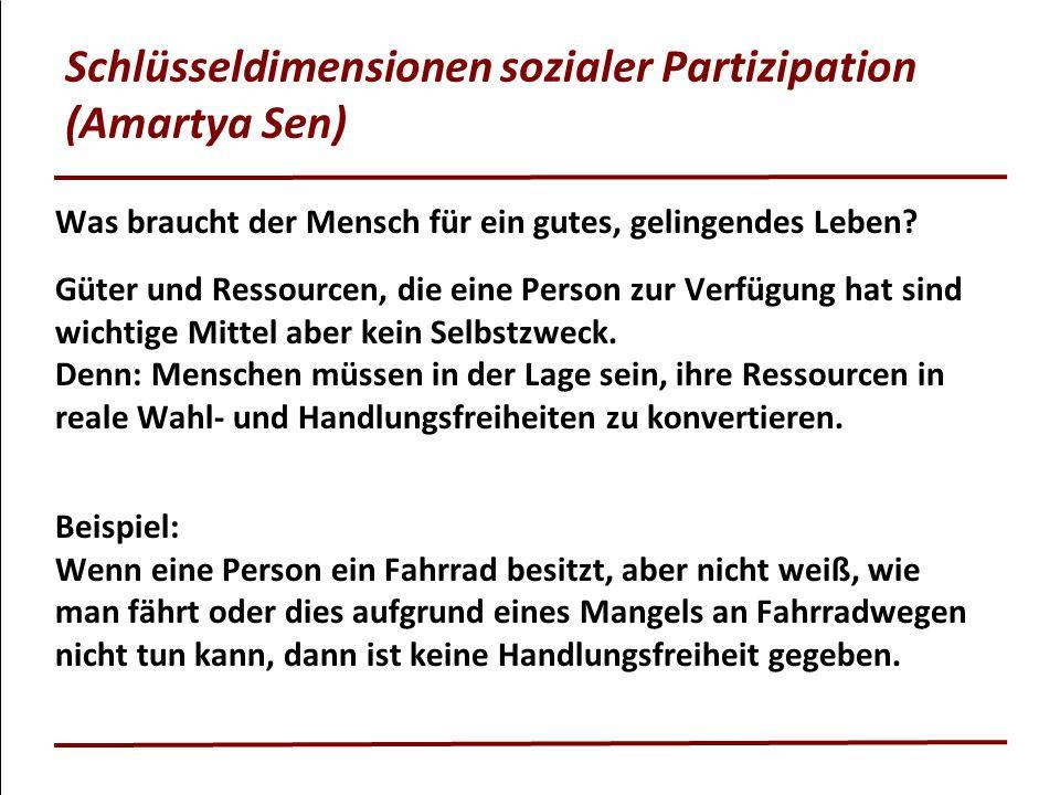 Schlüsseldimensionen sozialer Partizipation (Amartya Sen) Was braucht der Mensch für ein gutes, gelingendes Leben? Güter und Ressourcen, die eine Pers
