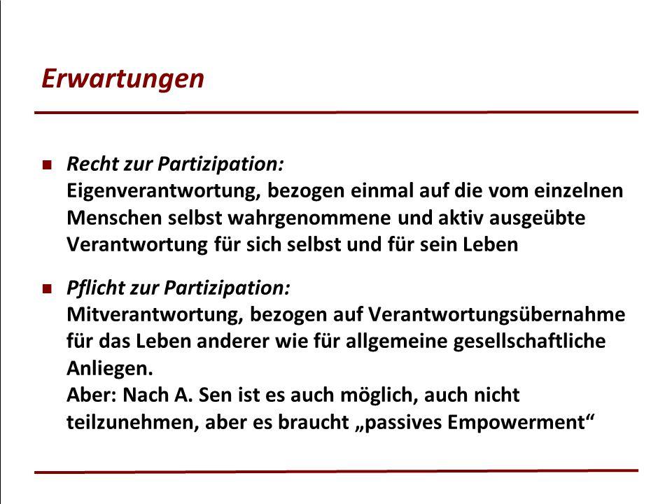 Erwartungen Recht zur Partizipation: Eigenverantwortung, bezogen einmal auf die vom einzelnen Menschen selbst wahrgenommene und aktiv ausgeübte Verant
