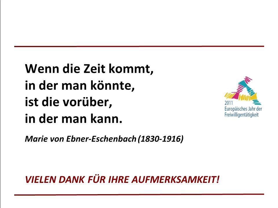 VIELEN DANK FÜR IHRE AUFMERKSAMKEIT! Wenn die Zeit kommt, in der man könnte, ist die vorüber, in der man kann. Marie von Ebner-Eschenbach (1830-1916)