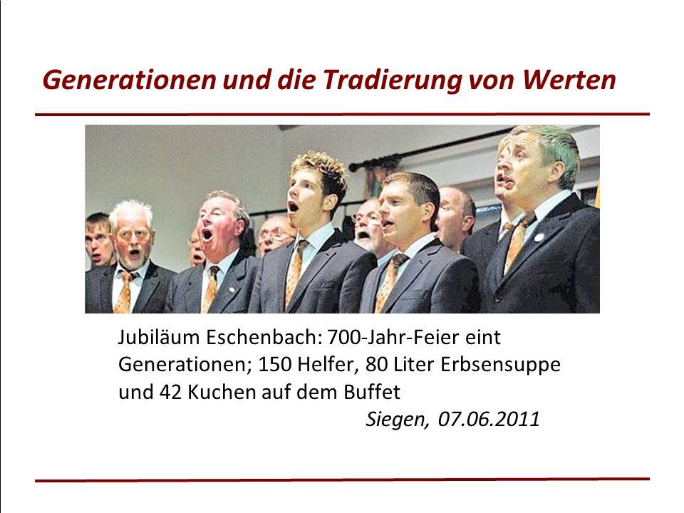 Generationen und die Tradierung von Werten Jubiläum Eschenbach: 700-Jahr-Feier eint Generationen; 150 Helfer, 80 Liter Erbsensuppe und 42 Kuchen auf d