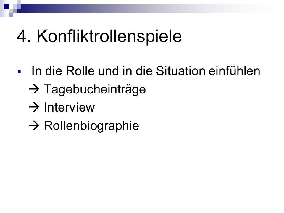 4. Konfliktrollenspiele  In die Rolle und in die Situation einfühlen  Tagebucheinträge  Interview  Rollenbiographie