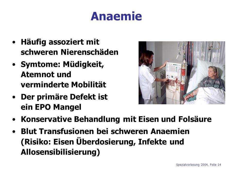 Spezialvorlesung 2004, Folie 14 Anaemie Häufig assoziert mit schweren Nierenschäden Symtome: Müdigkeit, Atemnot und verminderte Mobilität Der primäre