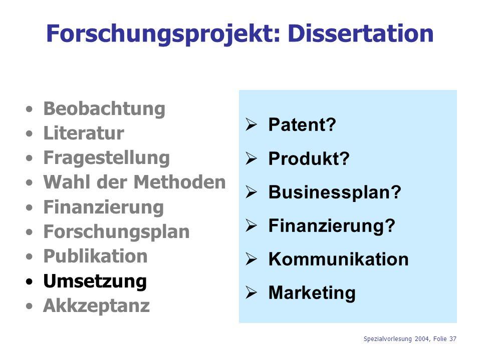 Spezialvorlesung 2004, Folie 37 Forschungsprojekt: Dissertation Beobachtung Literatur Fragestellung Wahl der Methoden Finanzierung Forschungsplan Publ