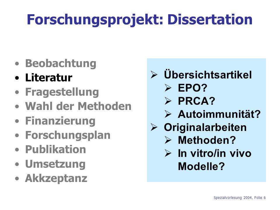 Spezialvorlesung 2004, Folie 6 Forschungsprojekt: Dissertation Beobachtung Literatur Fragestellung Wahl der Methoden Finanzierung Forschungsplan Publi