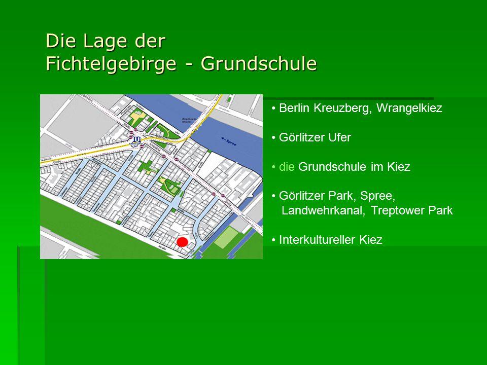 Die Lage der Fichtelgebirge - Grundschule Berlin Kreuzberg, Wrangelkiez Görlitzer Ufer die Grundschule im Kiez Görlitzer Park, Spree, Landwehrkanal, Treptower Park Interkultureller Kiez