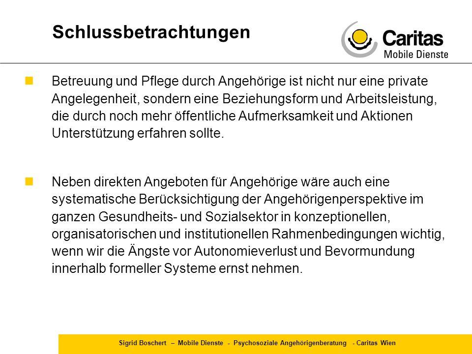 Sigrid Boschert – Mobile Dienste - Psychosoziale Angehörigenberatung - Caritas Wien Betreuung und Pflege durch Angehörige ist nicht nur eine private A