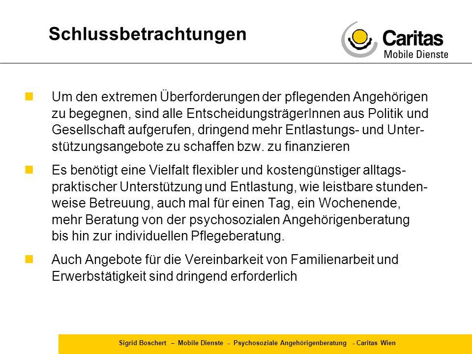 Sigrid Boschert – Mobile Dienste - Psychosoziale Angehörigenberatung - Caritas Wien Um den extremen Überforderungen der pflegenden Angehörigen zu bege