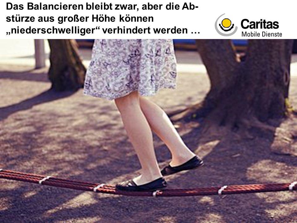 Sigrid Boschert – Mobile Dienste - Psychosoziale Angehörigenberatung - Caritas Wien Das Balancieren bleibt zwar, aber die Ab- stürze aus großer Höhe k