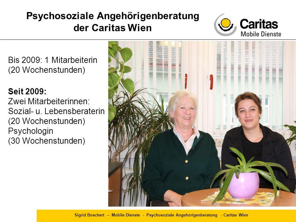 Sigrid Boschert – Mobile Dienste - Psychosoziale Angehörigenberatung - Caritas Wien Psychosoziale Angehörigenberatung der Caritas Wien Bis 2009: 1 Mit