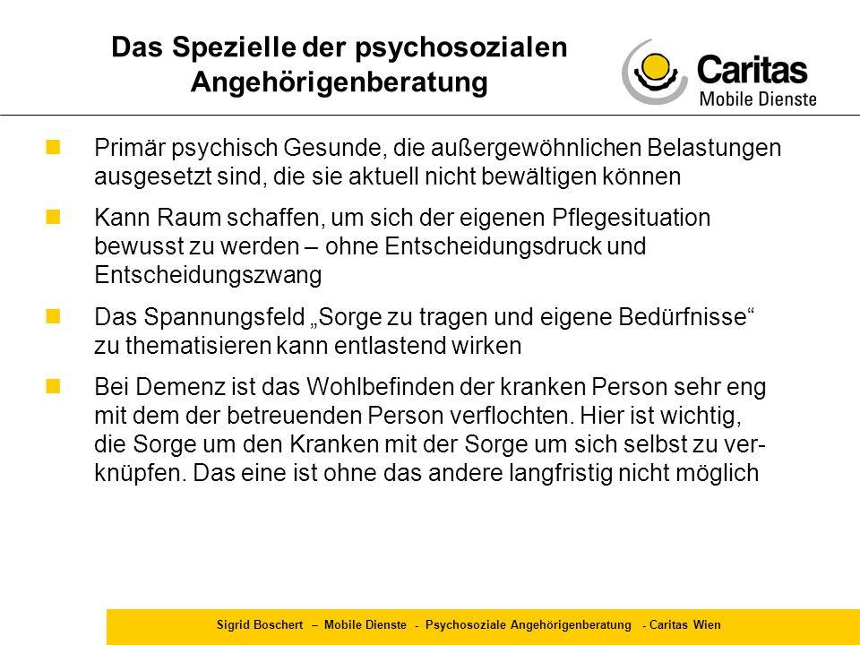 Sigrid Boschert – Mobile Dienste - Psychosoziale Angehörigenberatung - Caritas Wien Primär psychisch Gesunde, die außergewöhnlichen Belastungen ausges