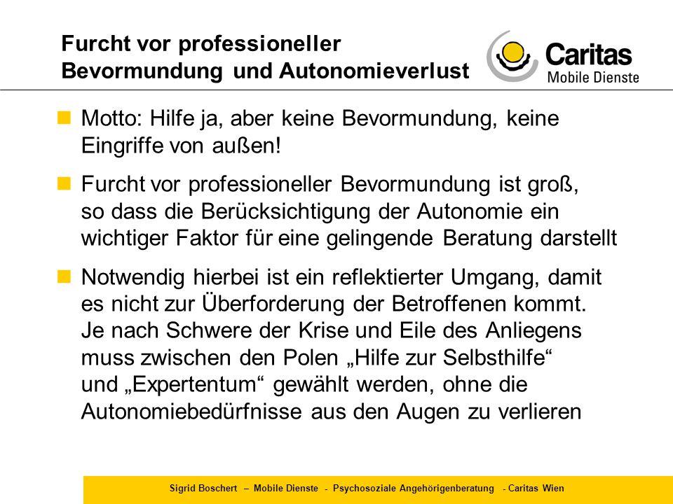 Sigrid Boschert – Mobile Dienste - Psychosoziale Angehörigenberatung - Caritas Wien Motto: Hilfe ja, aber keine Bevormundung, keine Eingriffe von auße