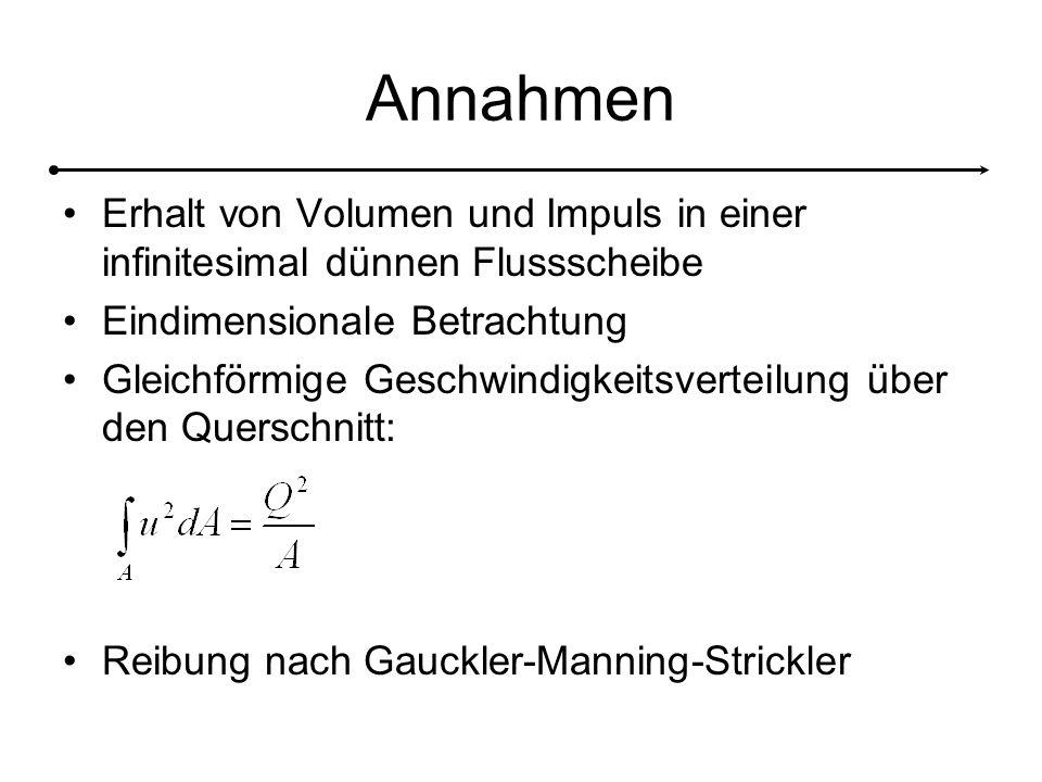 Annahmen Erhalt von Volumen und Impuls in einer infinitesimal dünnen Flussscheibe Eindimensionale Betrachtung Gleichförmige Geschwindigkeitsverteilung über den Querschnitt: Reibung nach Gauckler-Manning-Strickler