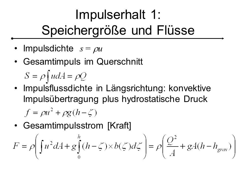 Impulserhalt 1: Speichergröße und Flüsse Impulsdichte s =  u Gesamtimpuls im Querschnitt Impulsflussdichte in Längsrichtung: konvektive Impulsübertragung plus hydrostatische Druck Gesamtimpulsstrom [Kraft]