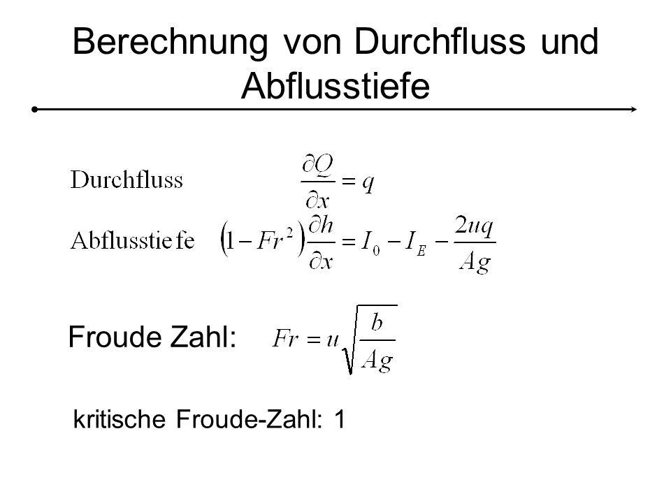 Berechnung von Durchfluss und Abflusstiefe Froude Zahl: kritische Froude-Zahl: 1