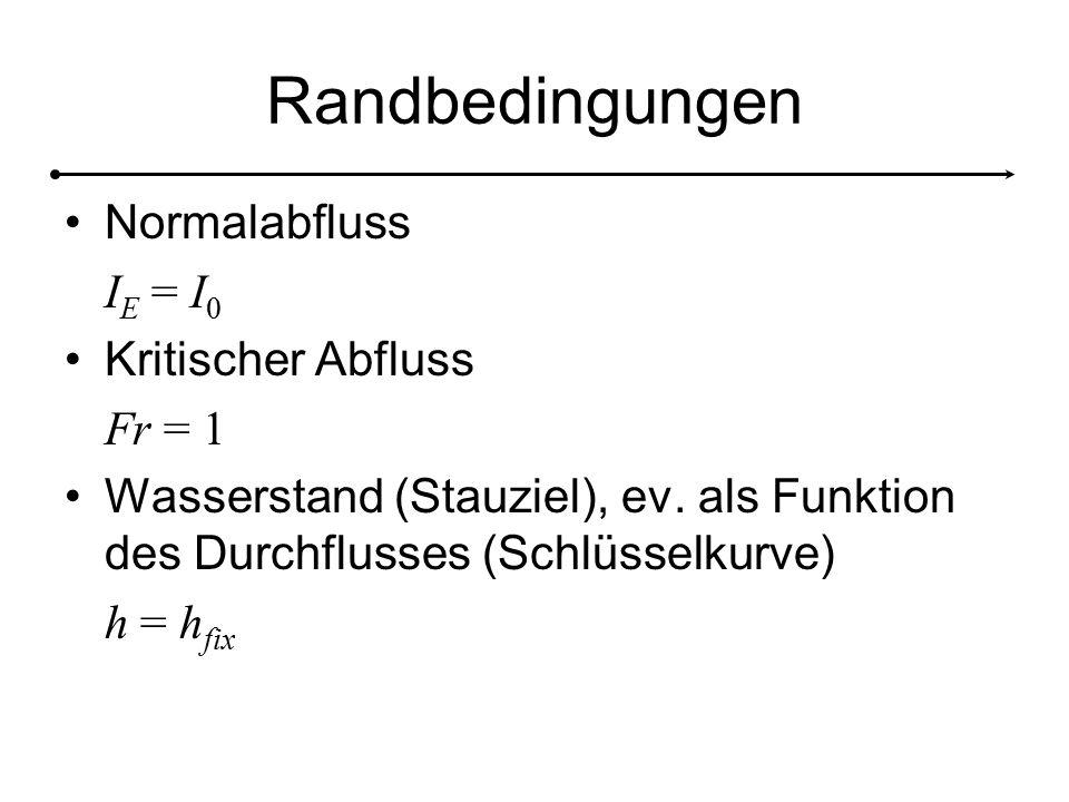 Randbedingungen Normalabfluss I E = I 0 Kritischer Abfluss Fr = 1 Wasserstand (Stauziel), ev.