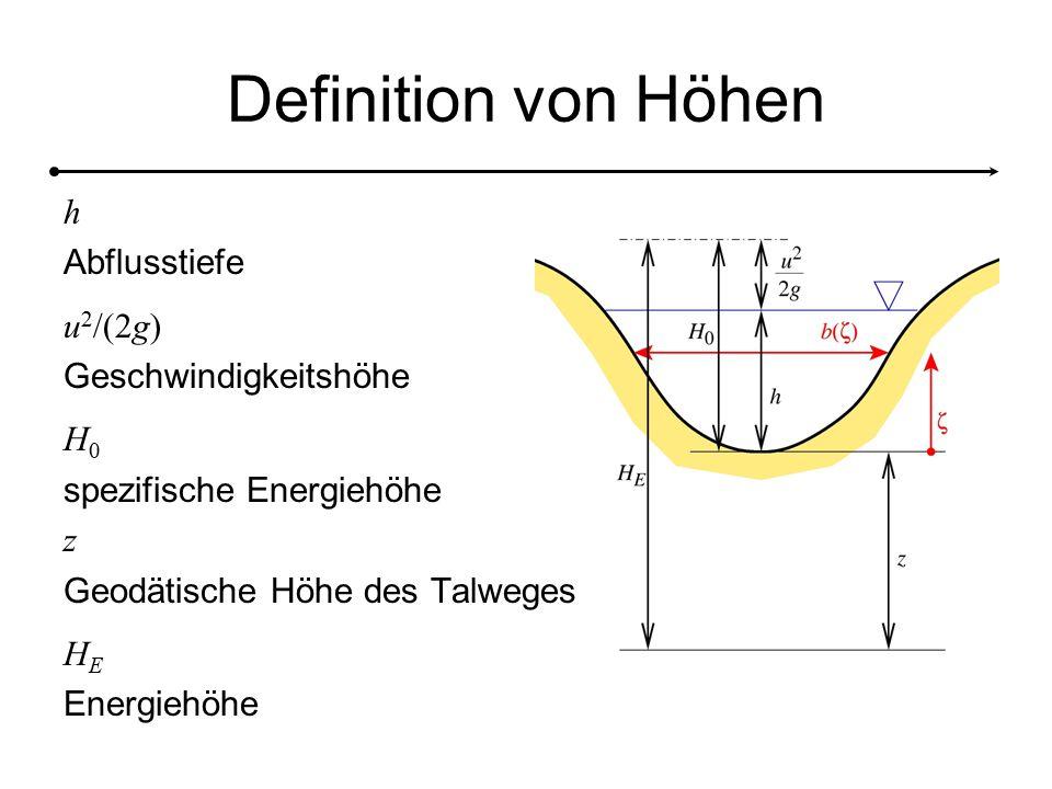 Definition von Höhen h Abflusstiefe u 2 /(2g) Geschwindigkeitshöhe H0H0 spezifische Energiehöhe z Geodätische Höhe des Talweges HEHE Energiehöhe