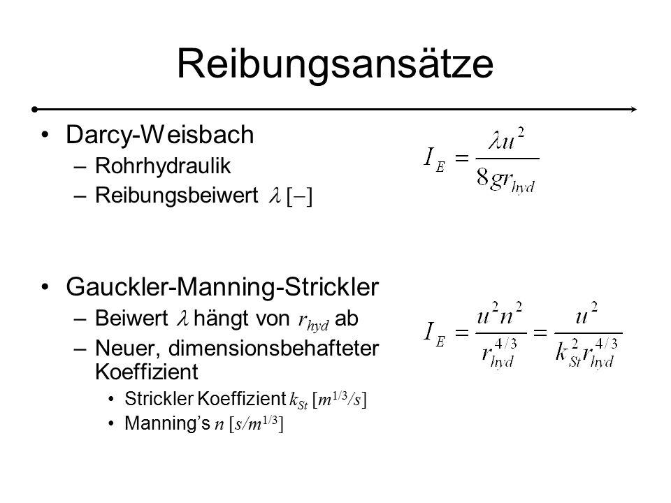 Reibungsansätze Darcy-Weisbach –Rohrhydraulik –Reibungsbeiwert Gauckler-Manning-Strickler –Beiwert hängt von r hyd ab –Neuer, dimensionsbehafteter Koeffizient Strickler Koeffizient k St [m 1/3 /s] Manning's n [s/m 1/3 ]