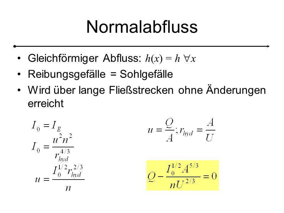 Normalabfluss Gleichförmiger Abfluss: h(x) = h  x Reibungsgefälle = Sohlgefälle Wird über lange Fließstrecken ohne Änderungen erreicht