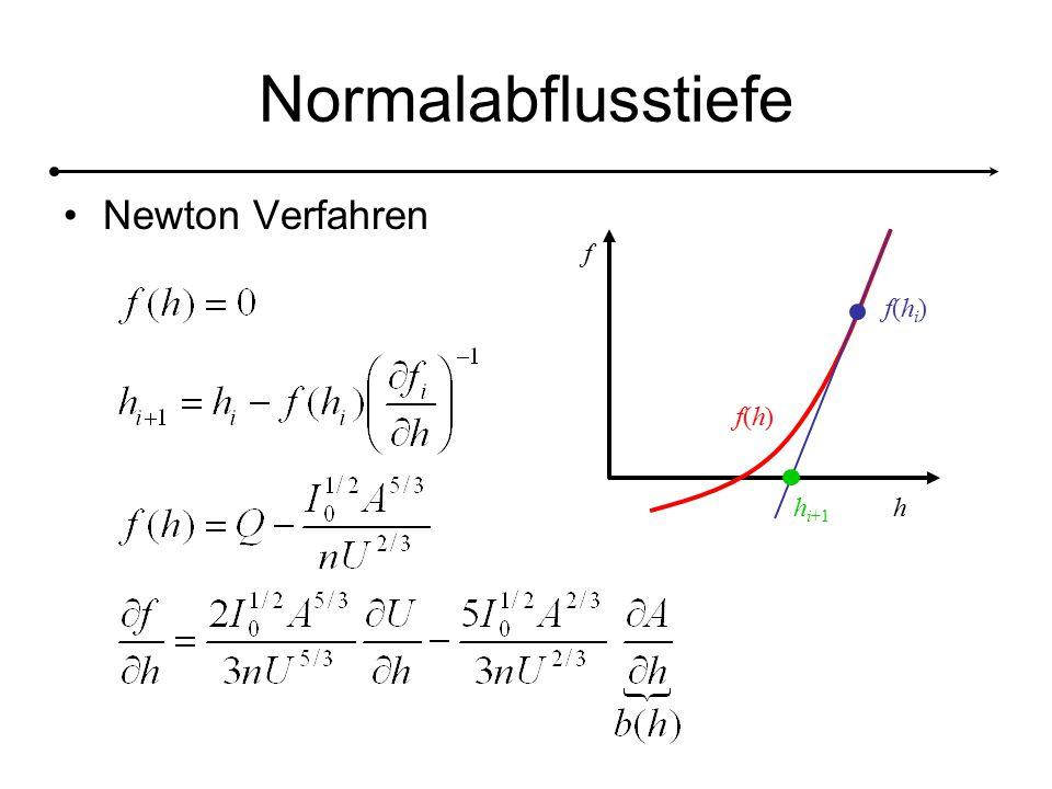 Normalabflusstiefe Newton Verfahren h f f(h)f(h) f(hi)f(hi) h i+1
