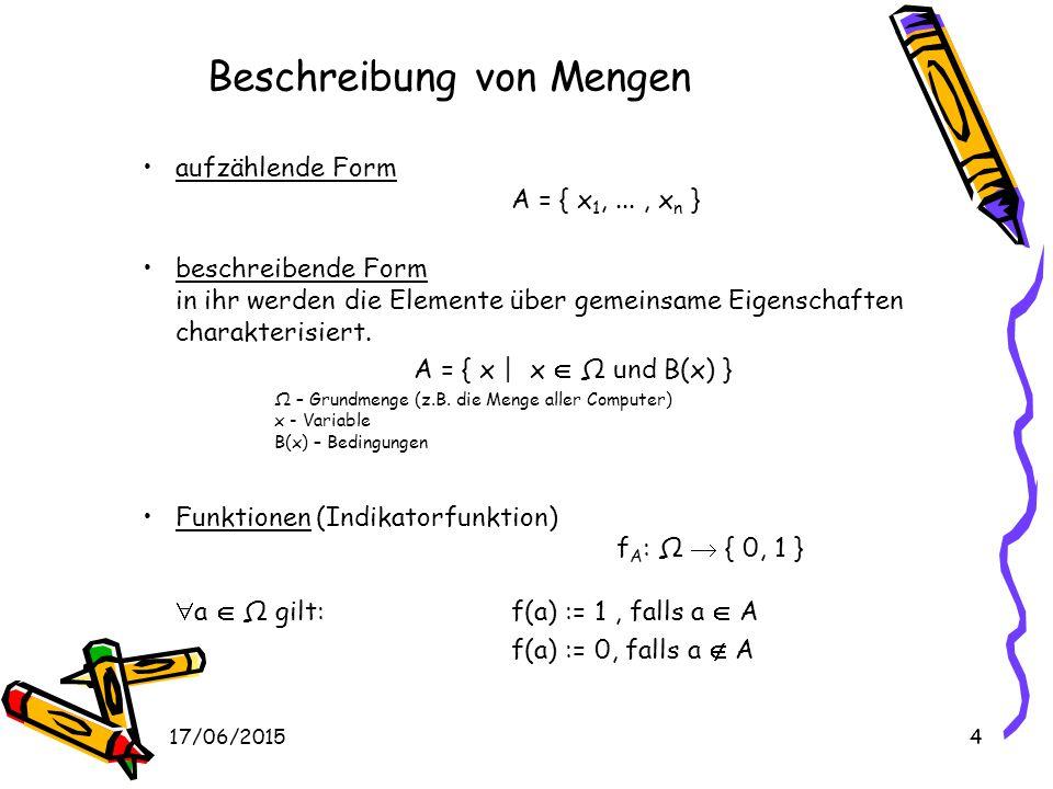 17/06/20154 Beschreibung von Mengen aufzählende Form A = { x 1,..., x n } beschreibende Form in ihr werden die Elemente über gemeinsame Eigenschaften charakterisiert.