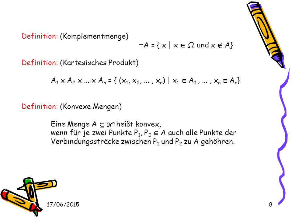17/06/20158 Definition: (Komplementmenge)  A = { x | x  Ω und x  A} Definition: (Kartesisches Produkt) A 1 x A 2 x...
